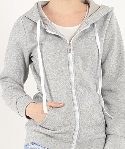Must Rose Unisex Plain Hooded Zip Up Top Zipper Hoodie Jacket (X-Large, Light Grey)