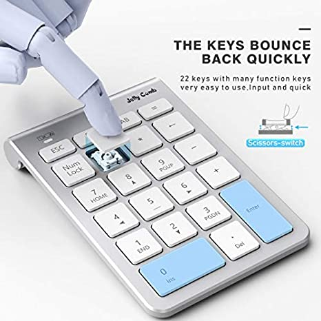 Black Laptop Notebook Bluetooth Number Pad Jelly Comb N030C 22-Key Portable Slim Bluetooth Wireless Numeric Keypad with Multi-Function Keys for Tablet PC Desktop N030C-