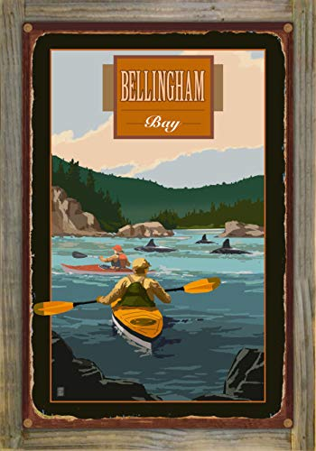 Northwest Art Mall Bellingham Washington Two Kayakers with Orcas Rustic Metal Print on Reclaimed Barn Wood by Mike Rangner (12