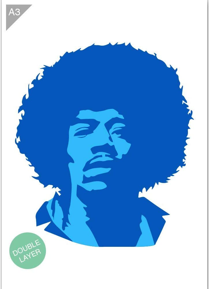 Qbix Jimi Hendrix Stencil 2 Layers A3 Size Stencil 2 Layers A3 Size Reusable Kids Friendly Diy Stencil For Painting Baking Crafts Wall Furniture Amazon Co Uk Kitchen Home