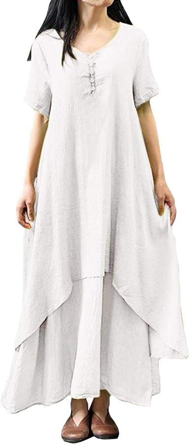 Sylar Vestidos Mujer,Moda Color Sólido De Algodón Y Lino Vestido ...