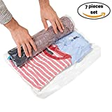 """7 Travel Storage Bags for Clothes - No Vacuum or Pump Needed -Reusable Space Saver Packing Sacks (7 items - 24x16"""") - Rolling Compression for Luggage"""