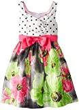 Bonnie Jean Little Girls' Dot To Floral Print Shantung Skirt, Fuchsia, 6