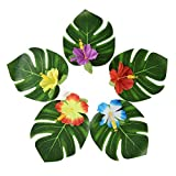 Transfertex 60PCS Tropical Party Supplies 8'' Simulation Imitation Palm Leaves and Hibiscus Flowers for Hawaiian Luau Party Jungle Beach Theme Table Decorations