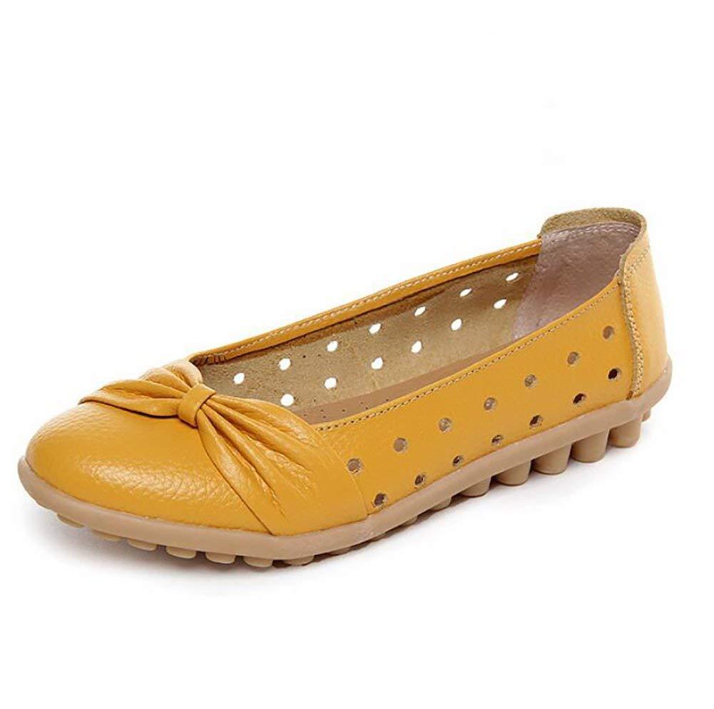 Fuxitoggo Atmungsaktiv Leder Schuhe Bogen Design Beiläufig Fahren Flache Schuhe,G,US8 EU39 UK6 CN39 (Farbe   E Größe   US6 EU36 UK4 CN36)