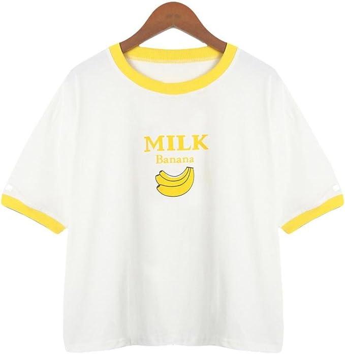Lenfesh Mujer Manga Corta Casual Camiseta Mezcla de algodón Cuello Redondo Casual Tops Blusa Plátanos Estampado Ropa Verano (XL, Blanco): Amazon.es: Ropa y accesorios