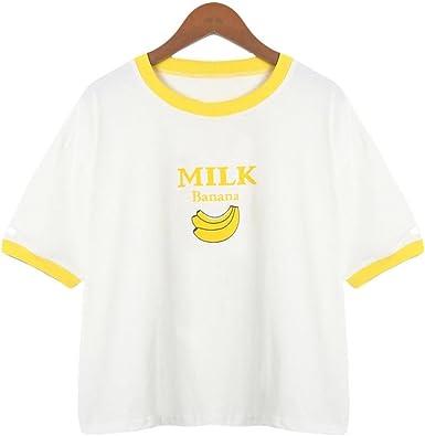 Lenfesh Mujer Manga Corta Casual Camiseta Mezcla de algodón ...
