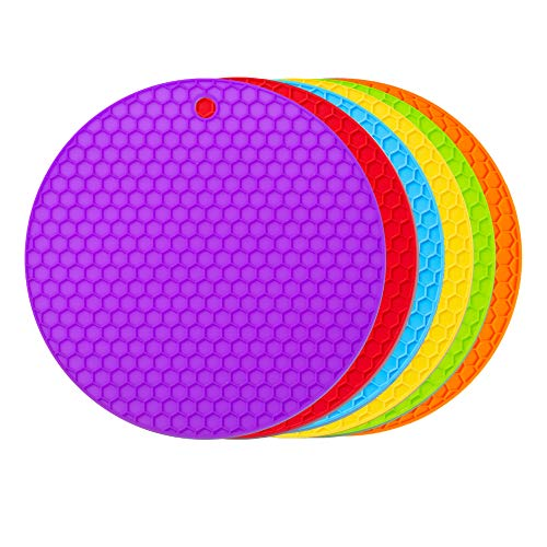 6 Pack Silicone Pot Holders Trivets Mat - Food Safe, Heat Resistant & Eco-Friendly Jar Opener Gripper - Silicon Potholder Trivet Hot Pad or Mats for Hot Dishes or Table Countertops Pots and Pans ()