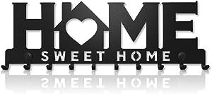 Key Holder for Wall Mount Sweet Home (10-Hook Rack) Decorative, Metal Hanger for Front Door, Kitchen, or Garage | Store House, Work, Car, Vehicle Keys | Vintage Decor