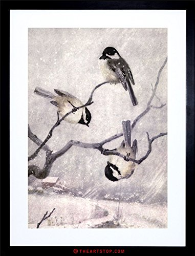 The Art Stop Painting Animal Chickadee Birds Winter HORSFALL Framed Print F12X4461