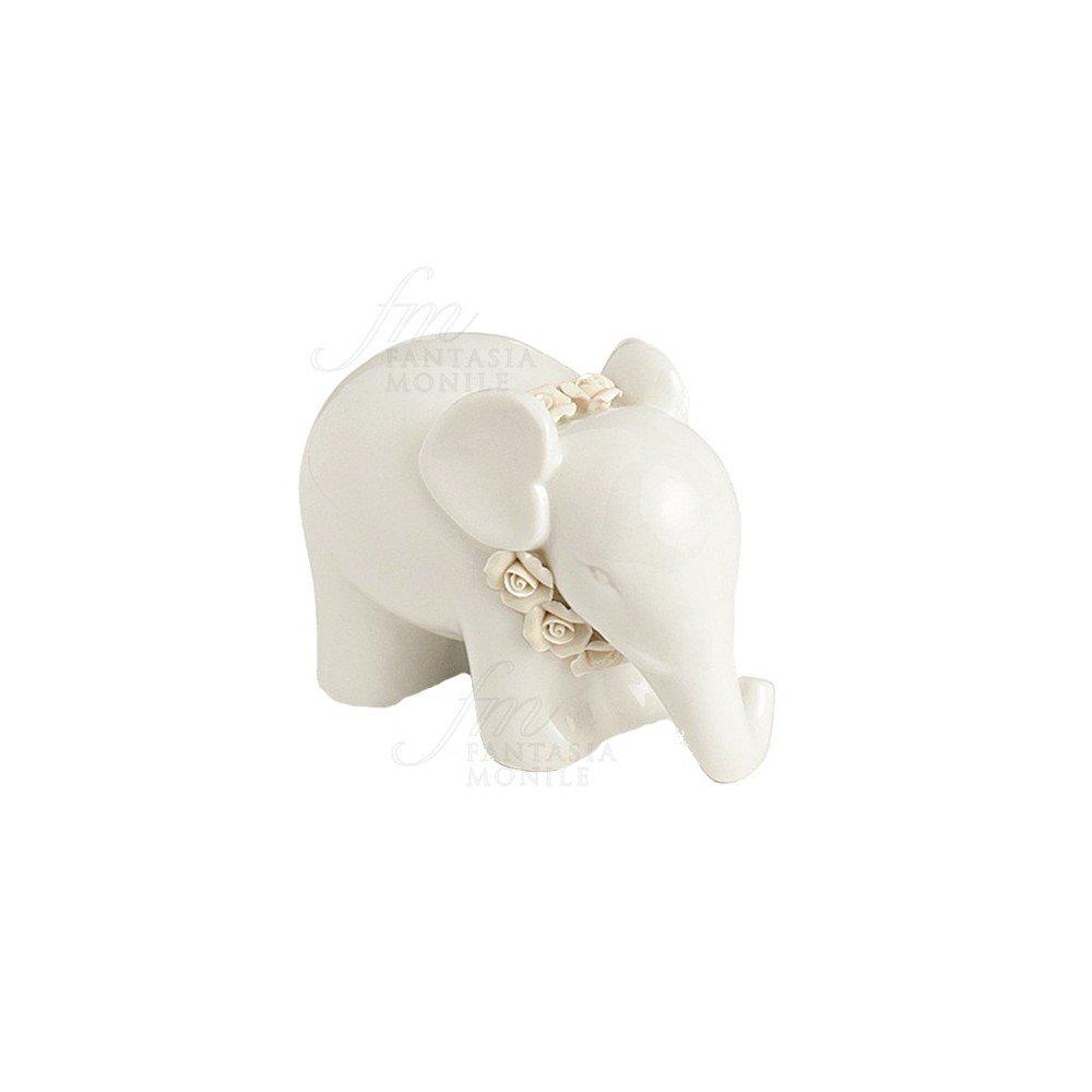 Elefant HERVIT Glücksbringer Porzellan Weiße Rosen handmade Geschenk ...