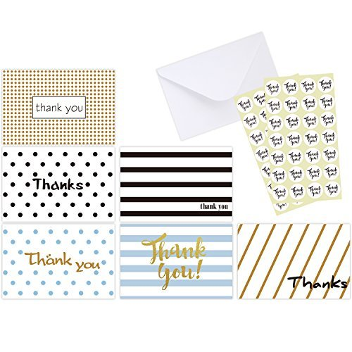 Ohuhu 48 Assorted Thank You Cards, Postcard Style Thank U Greeting Card of 6 Designs, One Blank Side Note Cards Card Stock W/48 Envelopes & 48 Stickers for Wedding, Baby (Blank Thank You Cards)