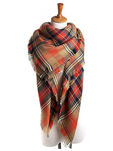 Womens Classic Tassels Plaid Scarf Soft Warm Tartan Wrap Large Blanket Shawl Fall Winter Scarf