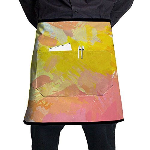 (XiHuan Grill Aprons Kitchen Chef Bib Brushed Painted Abstract Background Brush Stroked Painting Professional For BBQ Baking Cooking For Men Women Pockets)