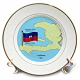 3dRose the Flag, Map Republic of Haiti in English, French, Haitian Creole Plate, 8''