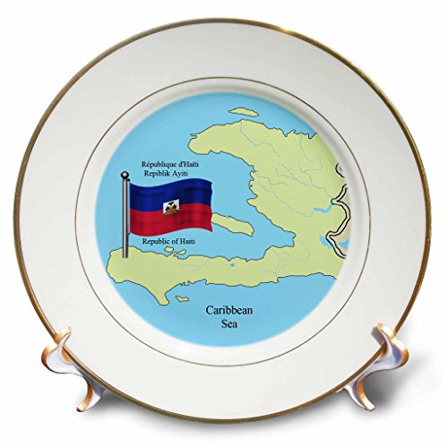 (3dRose The Flag, Map Republic of Haiti in English, French, Haitian Creole Plate, 8