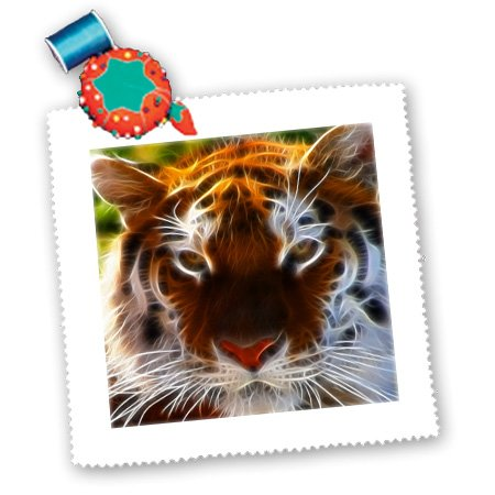 qs_97855_2 Renderly Yours Wild Animals - Fractal Color Outlined Bengal Tiger - Quilt Squares - 6x6 inch quilt square