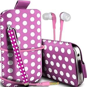 Nokia Lumia 510 Protección Premium Polka PU ficha de extracción Slip In Pouch Pocket Cordón piel cubierta de la caja de liberación rápida, Stylus Pen & 3.5MM Auriculares de auriculares auriculares Hot Pink & White por Spyrox