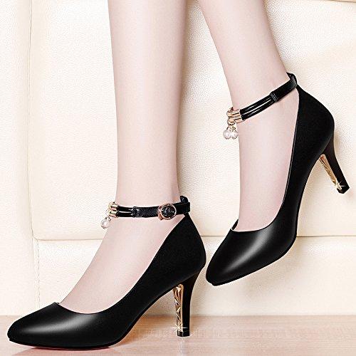 Jqdyl High Heels High-Stouml;ckelschuhe Damenschuhe New Spring Wild Shallow Mund fein mit spitzen Sommer Sandalen mit  34|B black