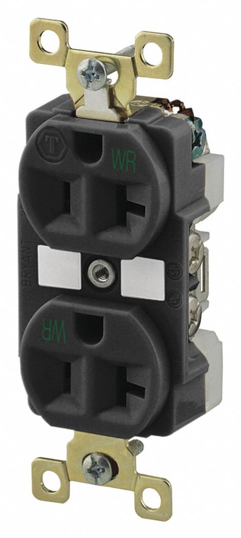 20A Heavy Use Industrial/Harsh Environments Receptacle, Black; Tamper Resistant: No