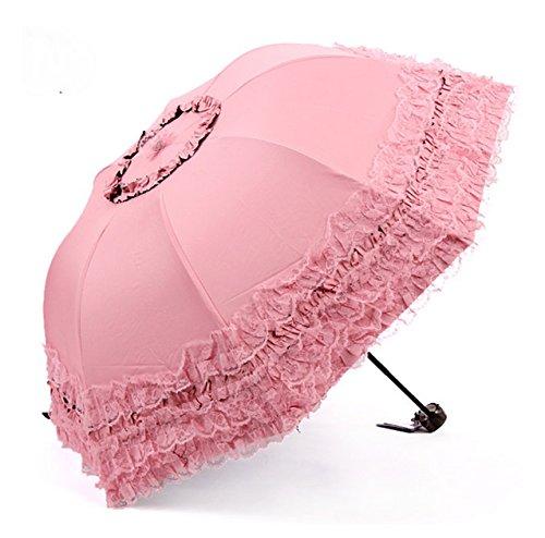 New Arrival Brand Umbrella Women Lace Rain&Sun Sweet Princess Umbrella UV Protection Three Folding Durable Spitze Regenschirm Alexander Mcqueen Women Shirts