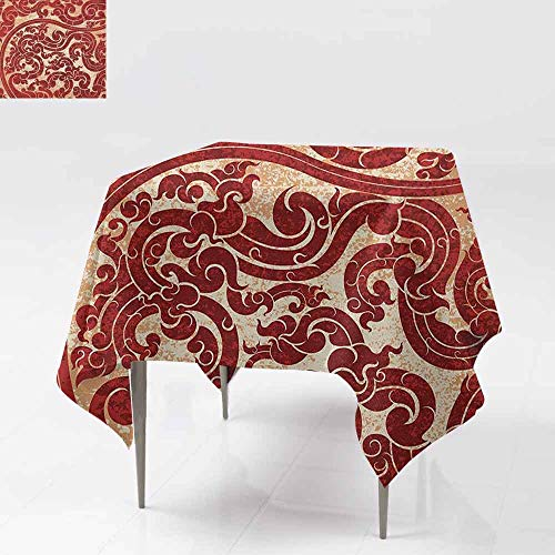 SONGDAYONE Polyester Square Tablecloth Antique Thai Culture Vector Abstract Background Flower Pattern Wallpaper Design Artwork Print Leakproof Ru W63 xL63 ()