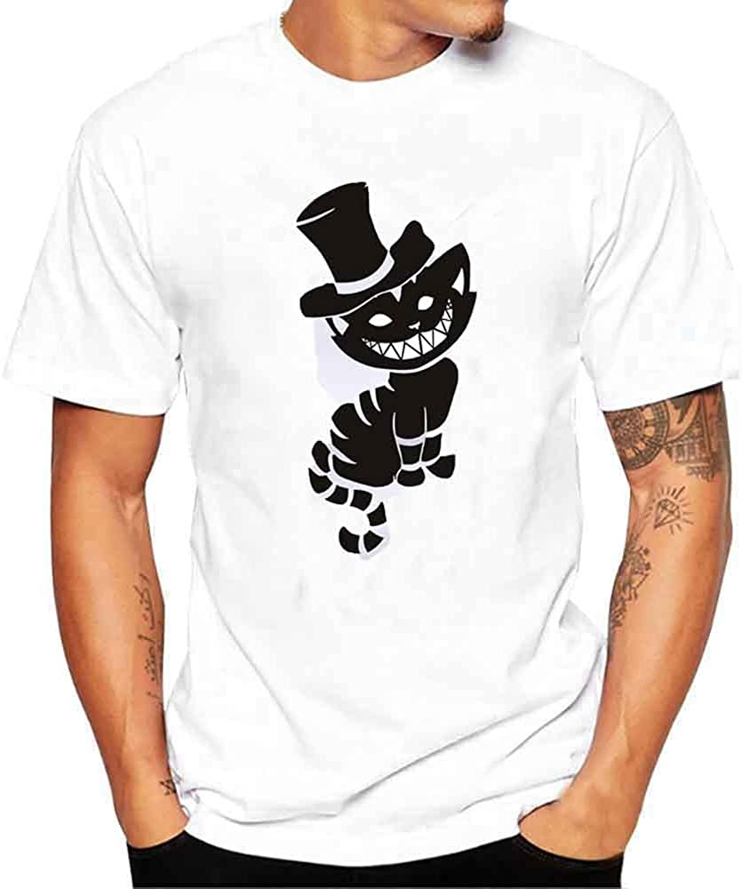 T Shirts for Men Cartoon Cat Printing Tees Crew Neck Short Sleeve Polo Shirts Pullover Slim Fit Tops
