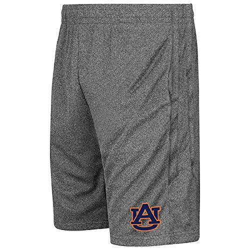 Colosseum NCAA Youth-Boys and Girls-Athletic Training Shorts-Heather Grey-Auburn Tigers-Youth Medium