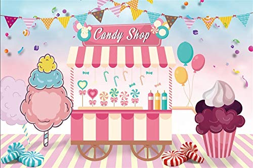 LFEEY 10x7ft Candy Shop Back Drop Cupcakes Juice Ice Cream Cart Backdrop Kids Girl Birthday Party Events Photography Background Photo Studio Props Video Drapes Wallpaper