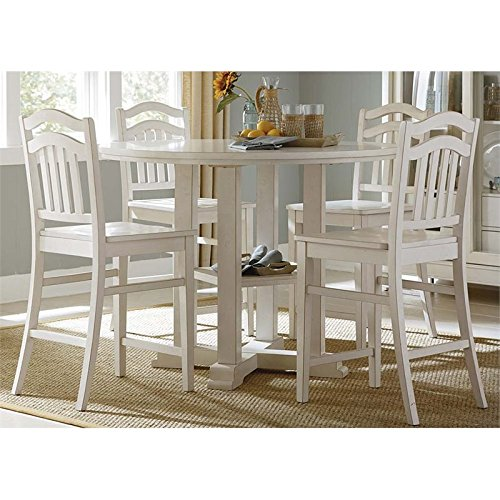 Liberty Furniture Summerhill Dining 5-Piece Gathering Table Set, Rubbed Linen White Finish