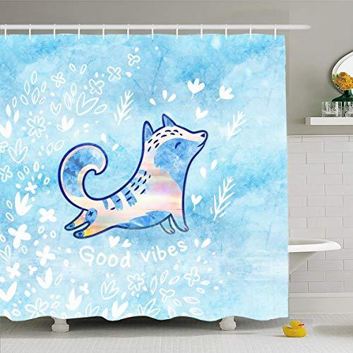 Ahawoso Shower Curtain 72x78 Inches Yoga Blue Asana Fantasy Arctic Fox Flowers Creative Buddhism Cat Character Class Design Waterproof Polyester Fabric Set with Hooks -