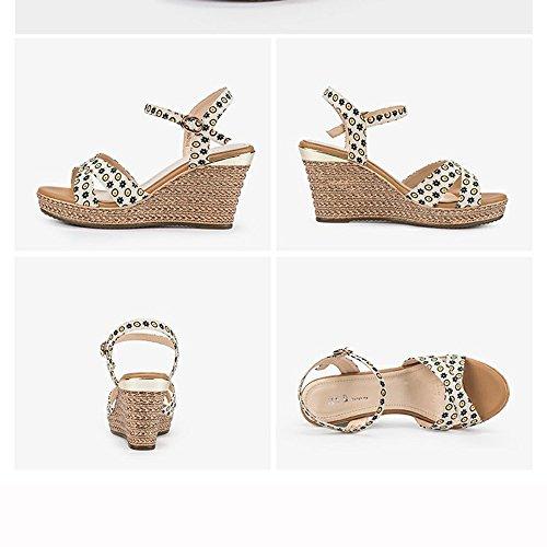 Sandalen Schuhe und Drucken freigestellt Weise freigestellt Sommer Süße weiblicher heeled Sackle high 2 Sandelholze wilde Slope B Sandalen Farben beiläufige Größe wahlweise mit wahlweise ZZHF Art X0wqTp6qx