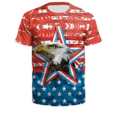 4th of July Clothes for Womens Independence Day Top American Eagle Tee USA Flag Shirt S ()