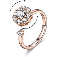 AoedeJ Women Rotating Cubic Zirconia Wedding Rings Spinning Band Diamond Rings Warp Open Adjustable Rings