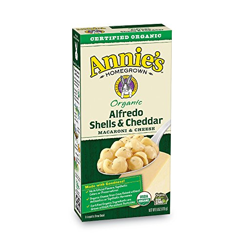 Annie's Organic Macaroni and Cheese, Alfredo Shells & Cheddar Mac and Cheese, 6 oz Box (Pack of 12)