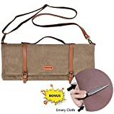 DUANGMUERS Waxed Canvas Chef Knife Roll Bag (10 Slots) - Hand-made/Durable/Washable/Waterproof, with Zipper Pocket and Shoulder Strap, Knives Excluded (28'' L x 17.5'' W)