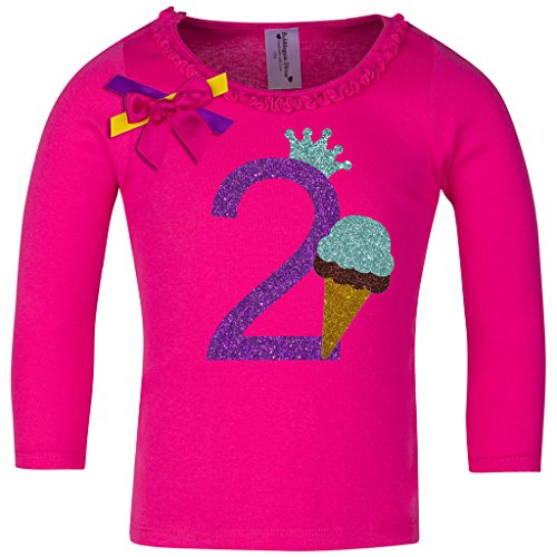 Bubblegum Divas Baby Girls' 2nd Birthday Ice Cream Cone Long Sleeve Shirt (Cotton Candy Ice Cream Cones compare prices)