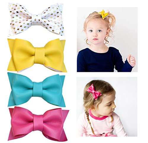 California Tot Premium Faux Leather Bow Hair Clips for Toddler, Girls, Mixed Set of 4 (Tea Party (Leather Tea)