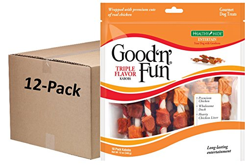 Good'N'Fun Triple Flavored Rawhide Kabobs For Dogs, 12 Oz (Pack Of 216) ()