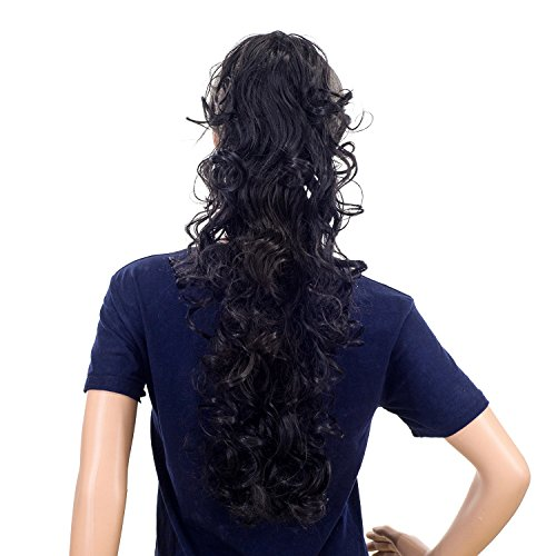 SWACC 24-Inch Long Messy Curls Claw Clip Ponytail Extensions Synthetic Clip in Drawstring Curly Ponytail Hairpiece Jaw Clip Hair Extensions (Off ()