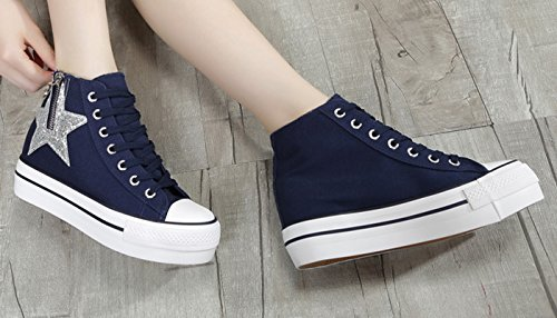 Top Vintage De Hauteur Dames Chaussures Sport En Style À High Vecjunia Plus Bleu Plate Foncé Rétro Plus En Baskets Toile forme De De Lacets Indie qH61r0wq