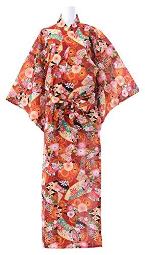 Kimura Jitsugyo Women's Kyoto Traditional Easy Wearing Kawaii Yukata Robe(Japanese Casual Kimono) Japanese Chrysanthemum Set (Yukata Cotton)