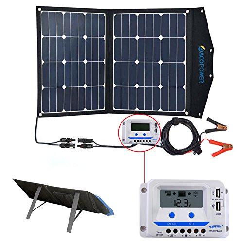 Acopower 80w Portable Solar Panel 12v Foldable Solar