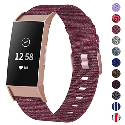 NANW Woven Bands Compatible with Fitbit Charge 3 Bands/Charge 3 SE, Soft Breathable Fabric Replacement Wristbands Strap Sports Accessories for Women Men, Large Small