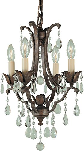 Murray Feiss Bronze Ceiling Light - Feiss F1881/4BRB Maison De Ville Crystal Small Candle Chandelier Lighting, Bronze, 4-Light (13