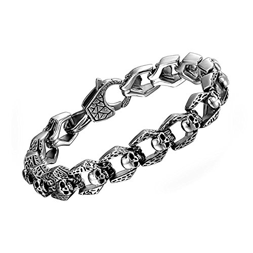 COOLMAN Skull Bracelet for Men NEW Gothic Punk Stainless Steel Link 8.5 - Stainless Steel Mens New Bracelet