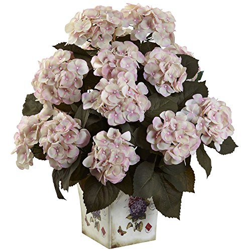 (Nearly Natural 1396-CP Hydrangea with Large Floral Planter, Cream Pink)