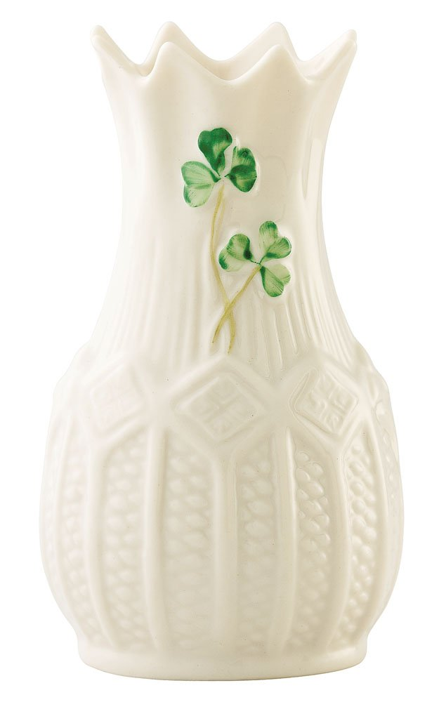 Belleek 2048 Mini Cashel Vase - Made in ireland Fine parian china Handpainted shamrock design - vases, kitchen-dining-room-decor, kitchen-dining-room - 51pvExsBKBL -