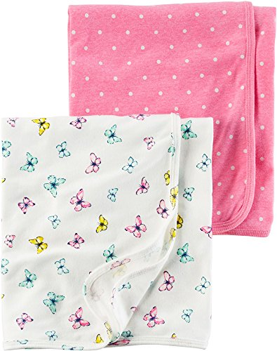 Carter's Baby Girls' 2-Pack Swaddle Blankets,Pink (Carters Bunny Blanket)