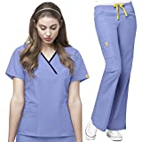 WonderWink Origins Womens Y-Neck Top & Flare Pant Scrub Set + FREE GIFT SOCKS